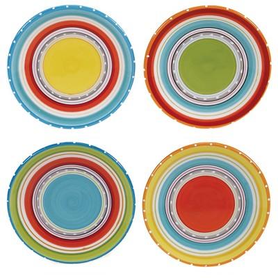 Certified International Mariachi Earthenware Appetizer Plates (6 )Orange - Set of 4