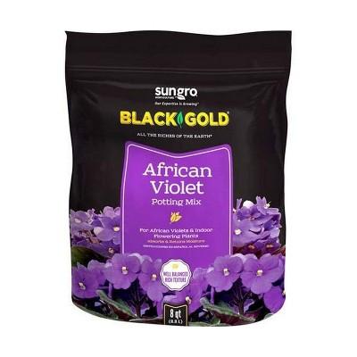 SunGro Black Gold Indoor Natural and Organic African Violet Potting Soil Fertilizer Mix for House Plants, 8 Quart Bag