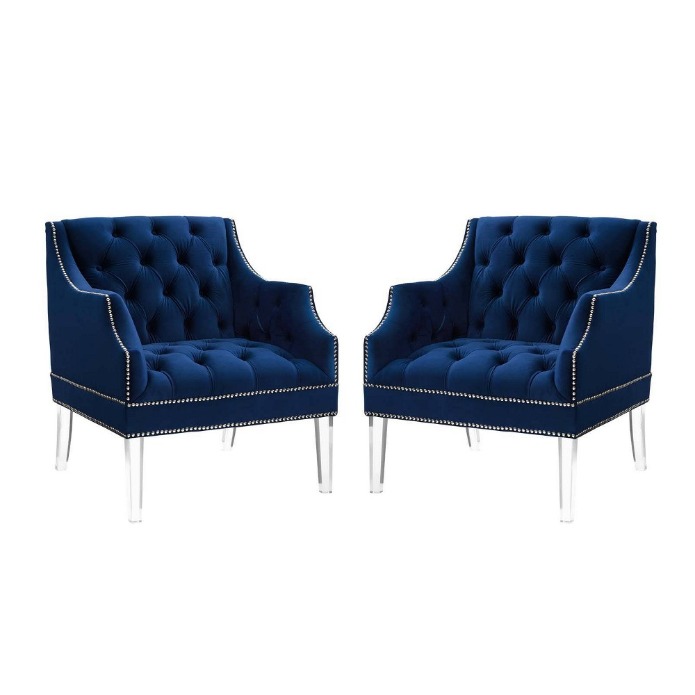 Set Of 2 Proverbial Armchairs Performance Velvet Navy Modway