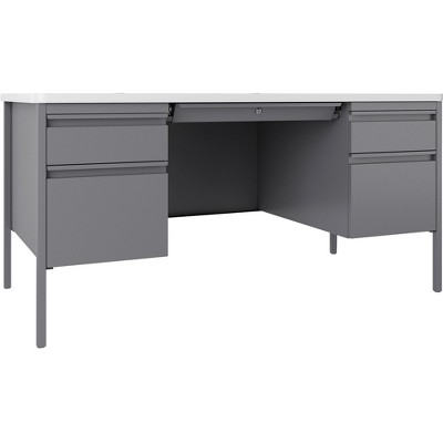 "Lorell Desk Double-Pedestal 60""x30""x29-1/2"" White/Platinum 66942"