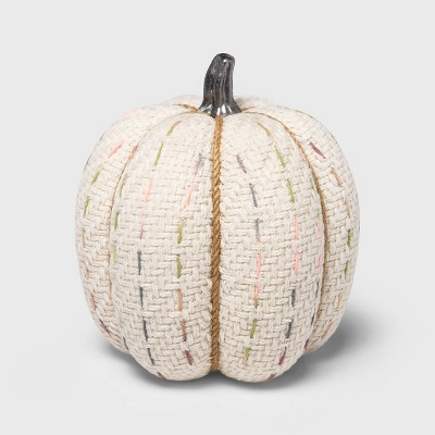 Large Tweed with Stitch Fabric Harvest Pumpkin (with White Contrast Jute Base)- Spritz™