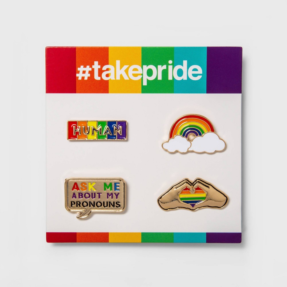 Image of Pride Gender Inclusive Enamel Pins - 4pk, Adult Unisex, MultiColored
