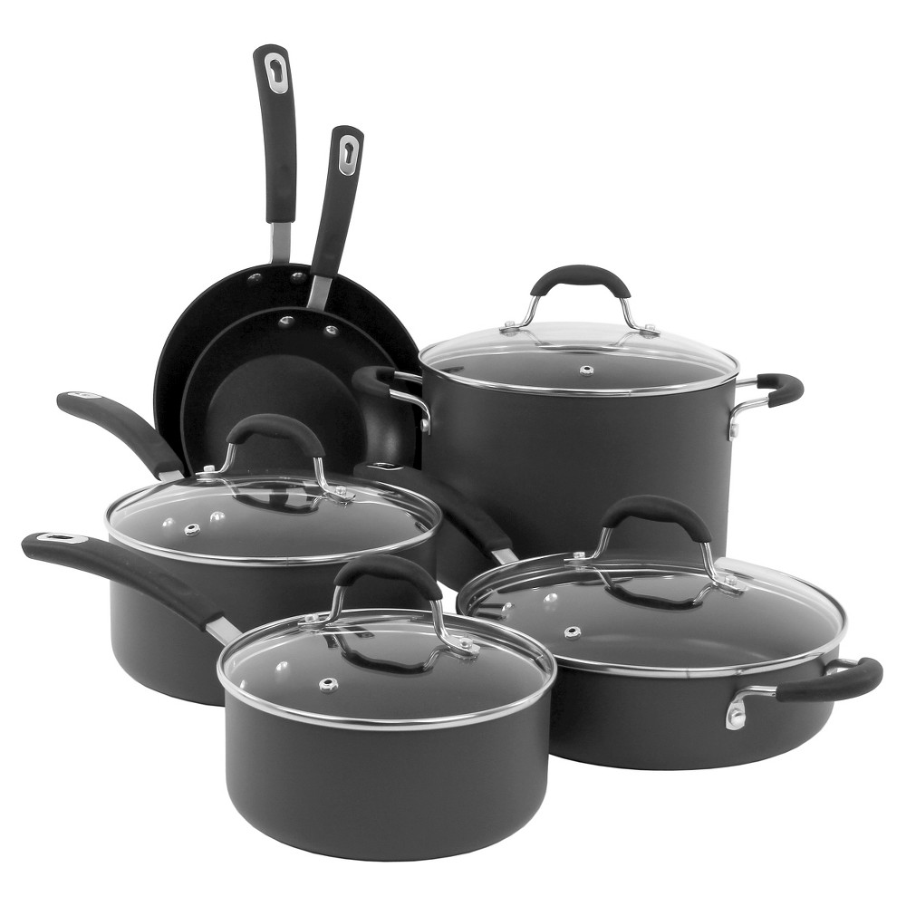 Oneida 10 Piece Black Hard Annodized Cookware Set With Glass Lids