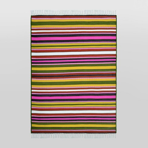 Basket Stripe Outdoor Rug Green/Pink - Opalhouse™ - image 1 of 3
