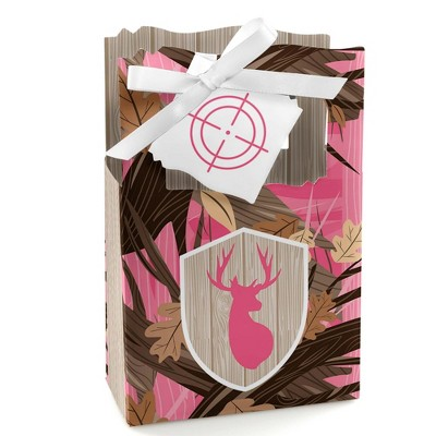 Big Dot of Happiness Pink Gone Hunting - Deer Hunting Girl Camo Baby Shower or Birthday Party Favor Boxes - Set of 12