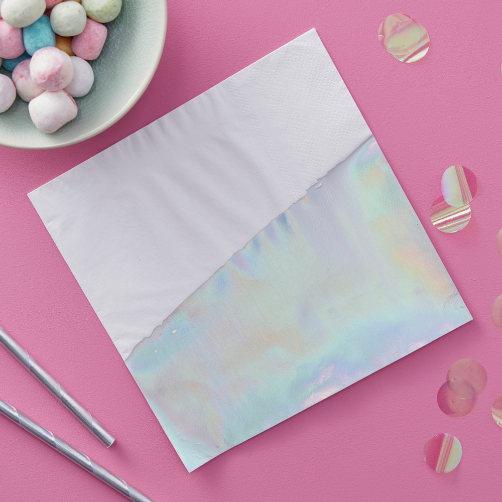 Image of 16ct Ginger Ray Iridescent Dipped Paper Napkins Iridescent Party, Multi-Colored