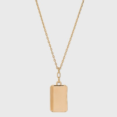 Solid Rectangle Pendant Necklace - A New Day™ Gold