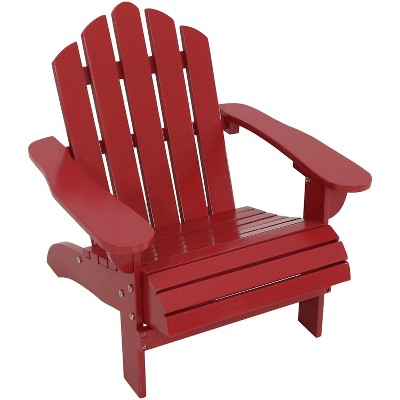 Kids Classic Adiorndack Rocking Chair Wood   Red   Sunnydaze Decor