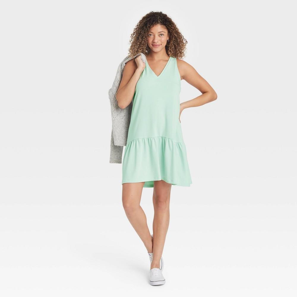 Women 39 S Ruffle Sleeveless Hem Knit Dress A New Day 8482 Mint Xl