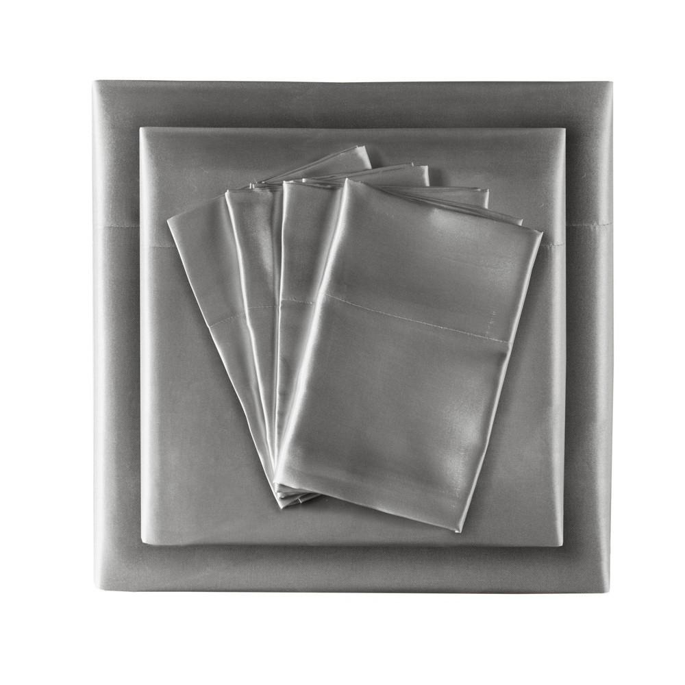 Queen 6pc Wrinkle Free Satin Sheet Set Gray