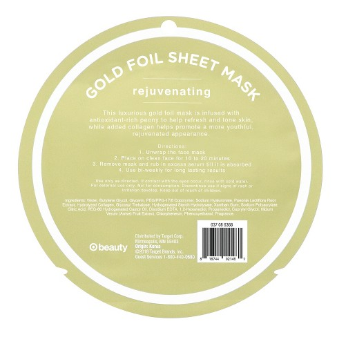 My Spa Life Rejuvating Gold Mettalic Foil Face Mask Sheets - 0 81oz