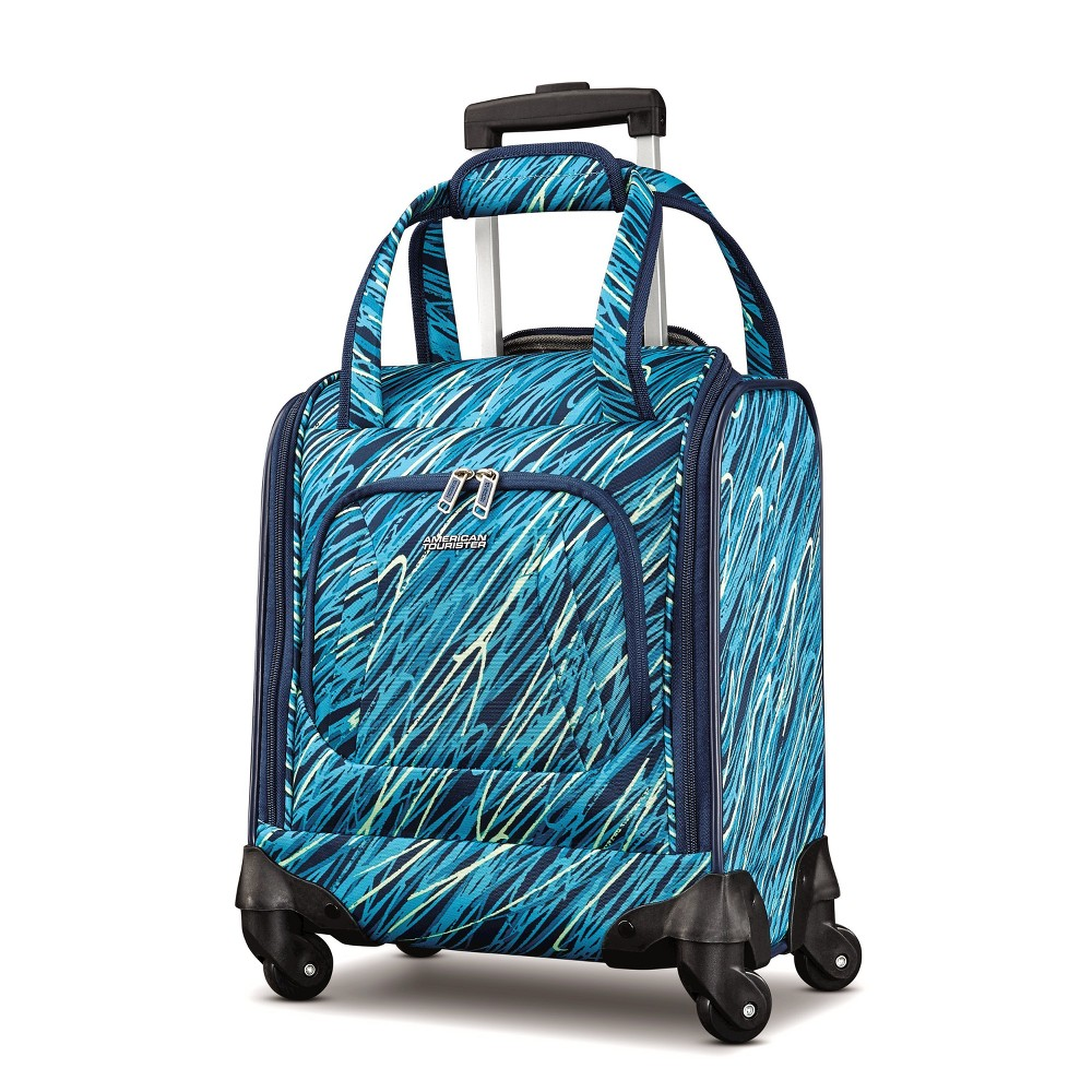 "Image of ""American Tourister 16.5"""" Avatar Carry On Underseater Spinner Suitcase - Scribbler Teal, Blue"""
