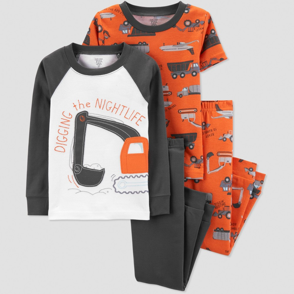 Baby Boys' 4pc Construction Pajama Set - Just One You made by carter's Orange/Gray 9M