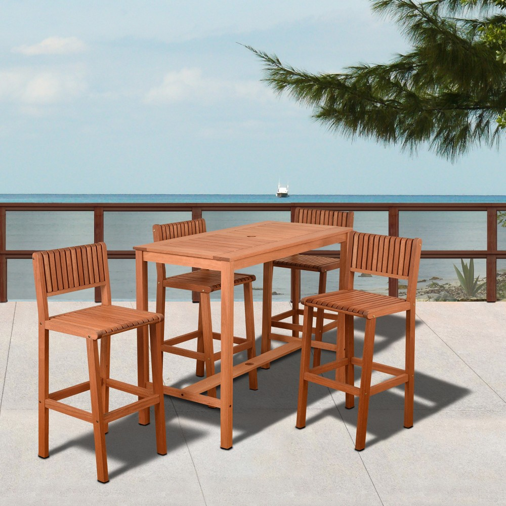 5pc Lima Rectangular Eucalyptus Patio Bar Set - Amazonia