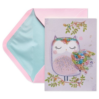 Papyrus Owl With Chatons Mothers Day Greeting Card