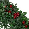 "Northlight 20"" Unlit Boxwood, Holly and Cranberry Artificial Christmas Wreath - image 2 of 3"