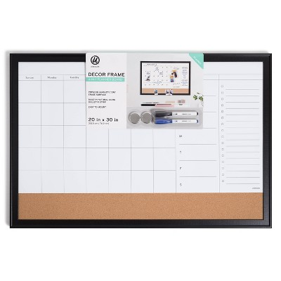 "U Brands 20""x30"" Minimal Deco Planner Board - Black"
