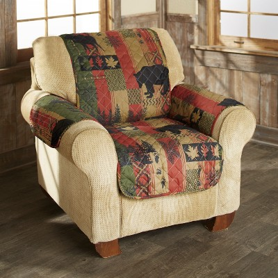 Lakeside Dakota Lodge Chair Cover with Woodland Accents - Diamond Quilt Fabric