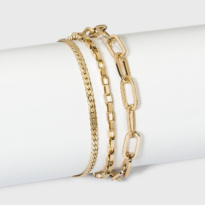Paperclip Chain Bracelet Set - A New Day™ Gold