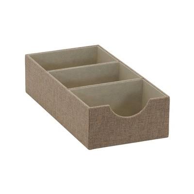 Household Essentials 3 Section Narrow Shelf Organizer Tray Brown