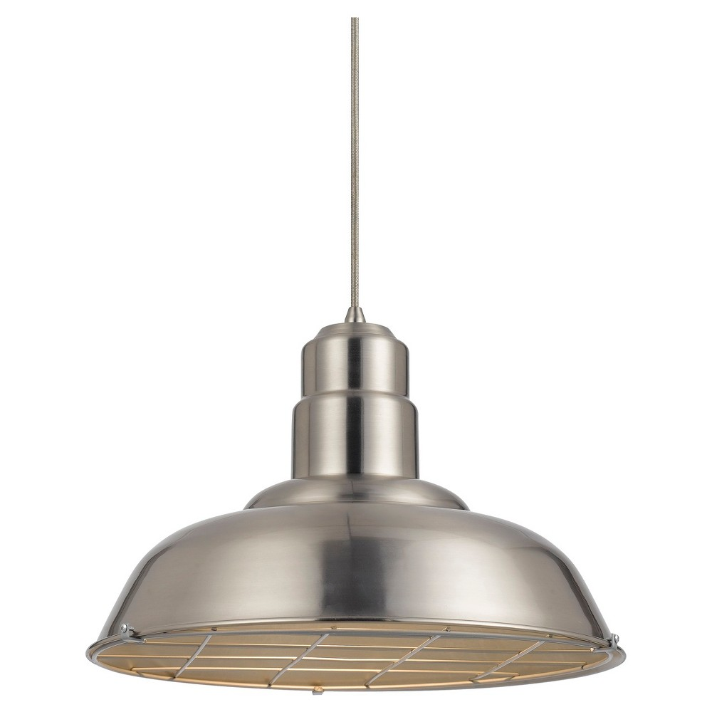 Cal Lighting Ashland Brushed Steel finish Metal Pendant Cal Lighting Ashland metal pendant in Brushed Steel finish with matching canopy. Cal Lighting makes this item in 3 finishes. (Sold separately) Gender: unisex.