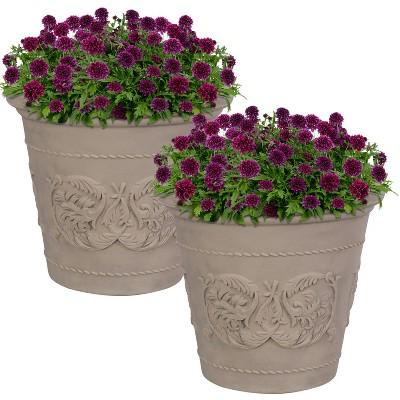 """Sunnydaze Arabella Polyresin Outdoor/Indoor Extra-Durable Double-Walled Fade-Resistant Flower Pot Planter - 20"""" Diameter - 2-Pack - Beige"""