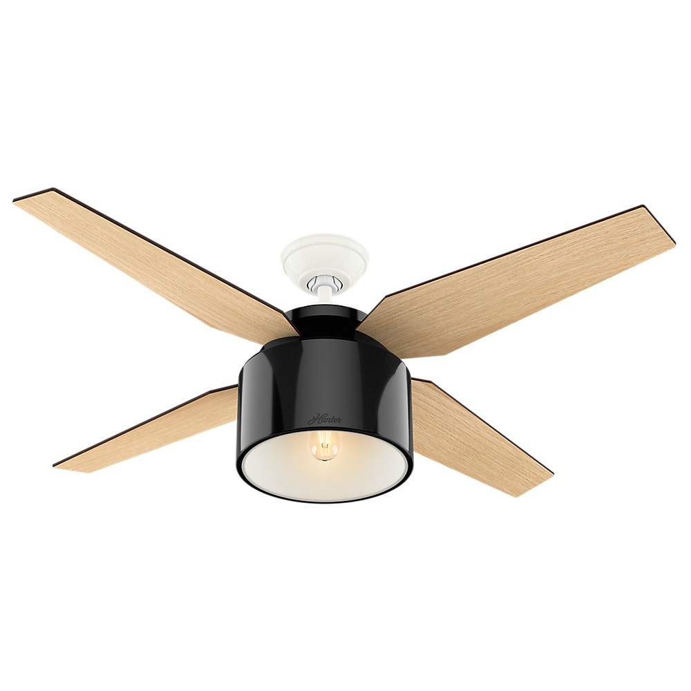 """Image of """"52"""""""" Cranbrook Gloss Black Ceiling Fan with Light with Handheld Remote - Hunter Fan"""""""