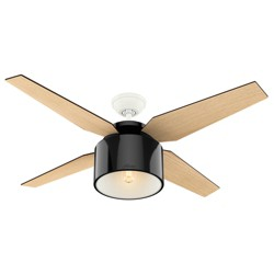 "52"" Cranbrook Ceiling Fan with Light with Handheld Remote Gloss Black - Hunter Fan"