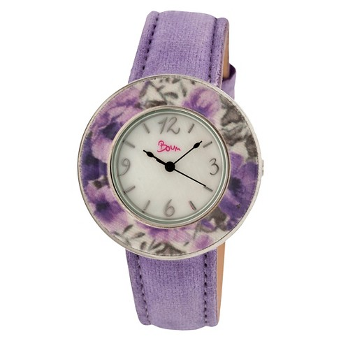 Women's Boum Bouquet Watch with Mother-of-Pearl Dial and Unique Patterned Bezel - Purple - image 1 of 3