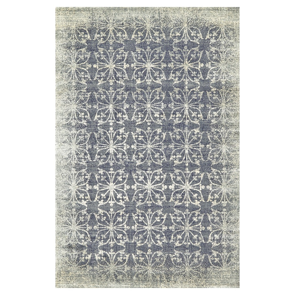 Dark Gray Geometric Woven Square Area Rug - (7'4