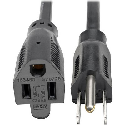 Tripp Lite Power Cord Extension Cable Standard 16 AWG 5-15P 5-15R 13A 25' - 120 V AC Voltage Rating - 13 A Current Rating - Black