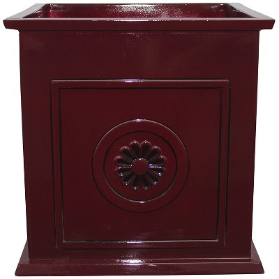 Southern Patio CMX-046998 Colony 16 Inch Square Resin Ceramic Indoor Outdoor Garden Box Planter Pot for Flowers, Herbs, Vegetables, and Plants, Red