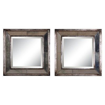 Square Davion Decorative Wall Mirror Set of 2 Silver - Uttermost