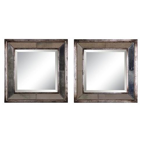 Square Davion Decorative Wall Mirror Set Of 2 Silver ...