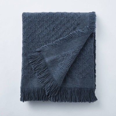 Washed Waffle Cotton Throw Navy - Threshold™ designed with Studio McGee