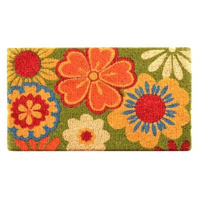 HomeTrax Coir Mat Doormat - Summer Flower (18  x 30 )