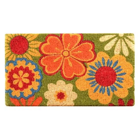 """HomeTrax Coir Mat Doormat - Summer Flower (18"""" x 30"""") - image 1 of 3"""