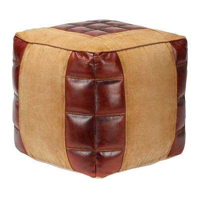 Square Canvas Pouf Brown - Olivia & May