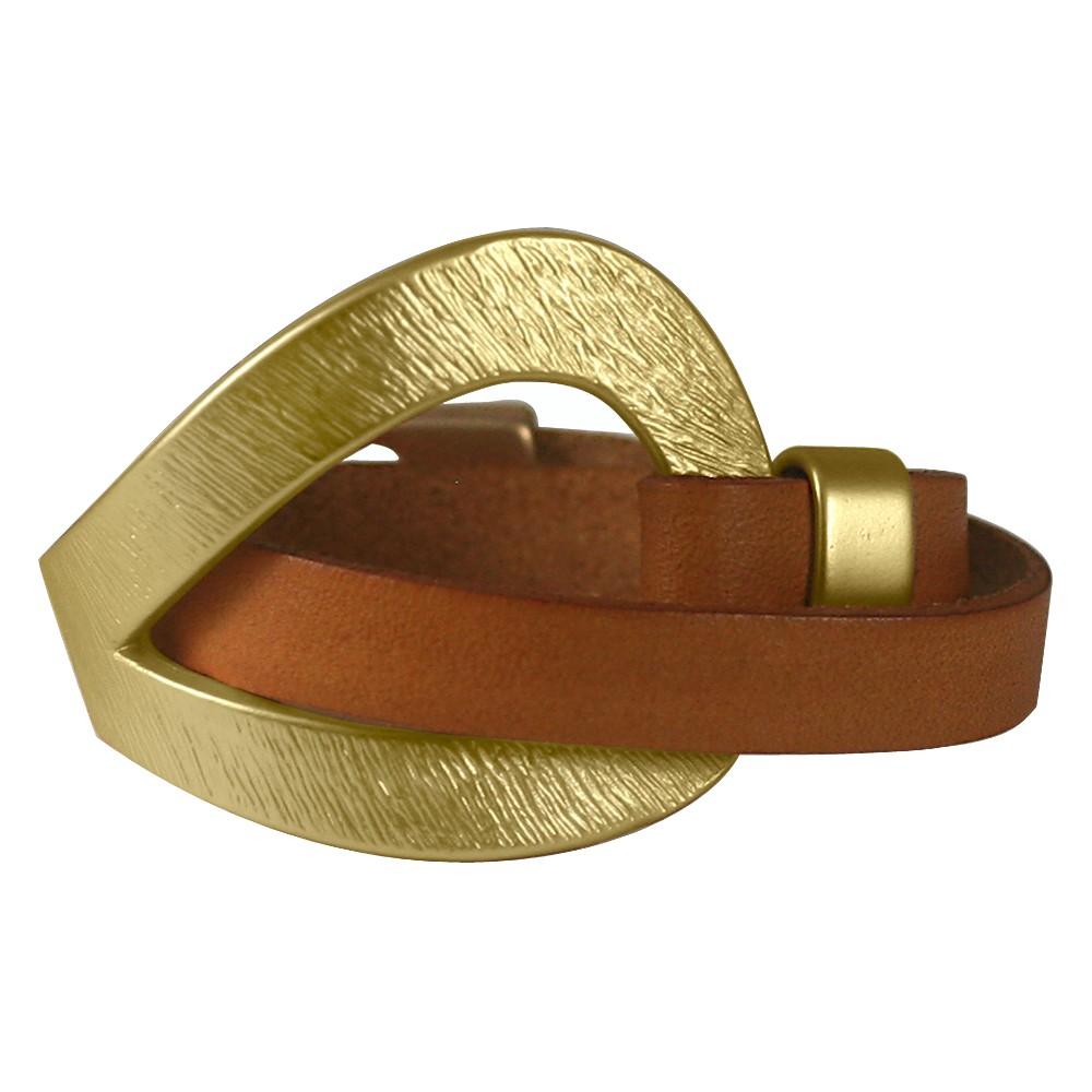 Zirconite Hook N Eye Genuine Leather Wrap Wristband Bracelet - Gold/Light Brown