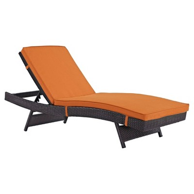 Convene Outdoor Patio Chaise in Espresso Orange - Modway