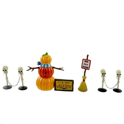 Dept 56 Accessories Halloween Decorating Set Halloween Pumpkin Skull Bat  -  Decorative Figurines