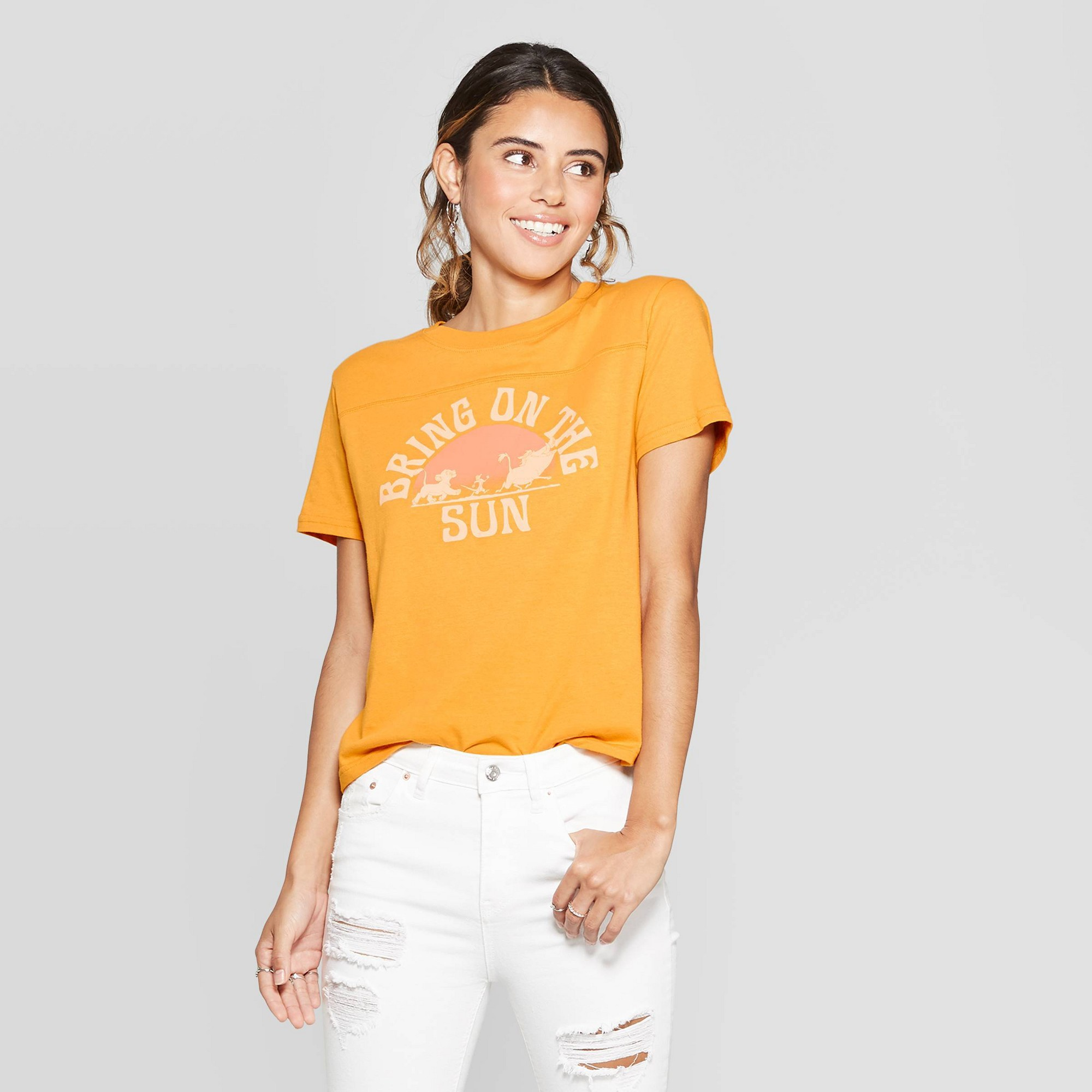 Women's The Lion King Short Sleeve Bring on the Sun Graphic T-Shirt (Juniors') - Yellow M
