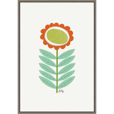 """16"""" x 23"""" Mid Mod Flower No.3 by Annie Bailey Art Framed Canvas Wall Art - Amanti Art"""