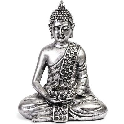 "8.7"" Small Buddha Statue Sitting Meditating Figurine Tealight Holder for Indoor Outdoor Home Garden Decor Gift, Stone White"