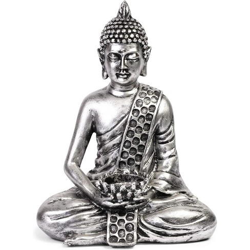 """8.7"""" Small Buddha Statue Sitting Meditating Figurine Tealight Holder for Indoor Outdoor Home Garden Decor Gift, Stone White - image 1 of 4"""
