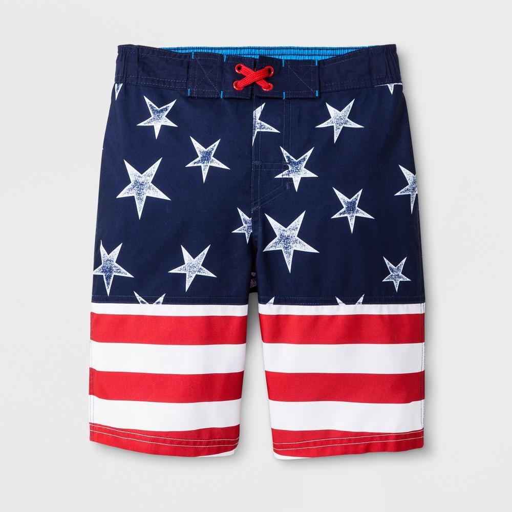 Boys' American Flag Swim Trunks - Cat & Jack L Husky, Red