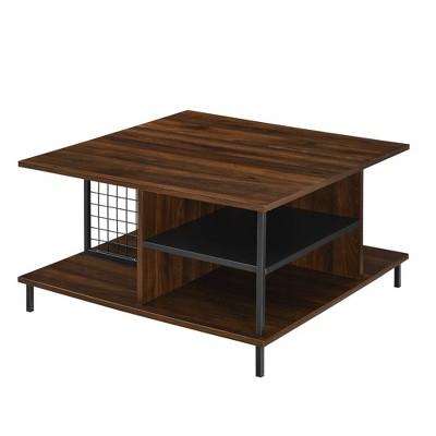"30"" Metal and Wood Square Coffee Table Dark Walnut - Saracina Home"