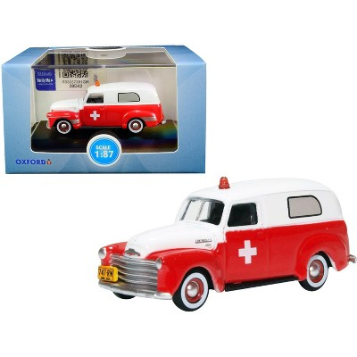 """1950 Chevrolet Panel Van """"Ambulance"""" Red and White 1/87 (HO) Scale Diecast Model Car by Oxford Diecast"""