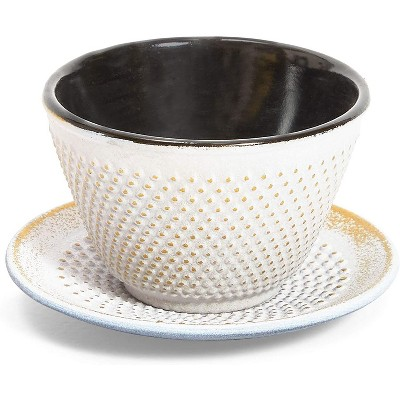 Juvale White Cast Iron Tea Cup and Saucer Set, Gold Accents (3.38 oz)