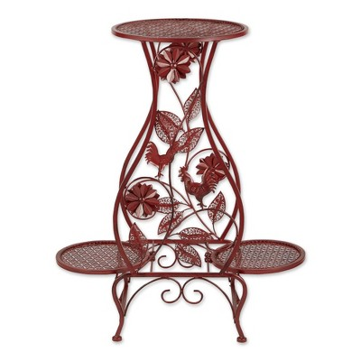 """12.59"""" Indoor/Outdoor Iron Rooster Hourglass Triple Plant Stand Red - Zings & Thingz"""